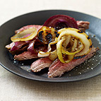 Flank Steak with Triple Grilled Onions